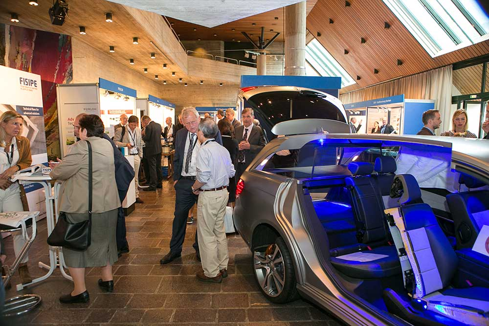 The exhibition area of this year's Dornbirn Man-Made Fibers Congress featured Groz-Beckert's TexCar demonstrating the various aspects of fiber usage in the automotive industry.