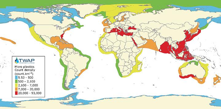 Estimated relative distribution of microplastic abundance in large marine ecosystems