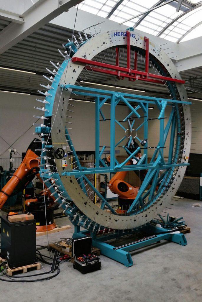 Herzog radial triaxial braiding unit