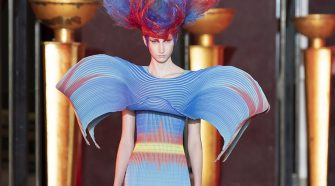 A couture garment that harnesses the super-contraction of Brewed Protein fibers