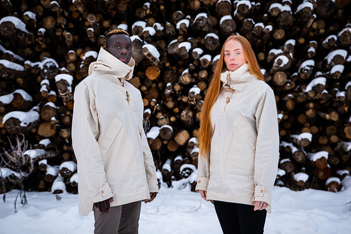 A naturally waxed anorak developed by Spinnova and Bergans