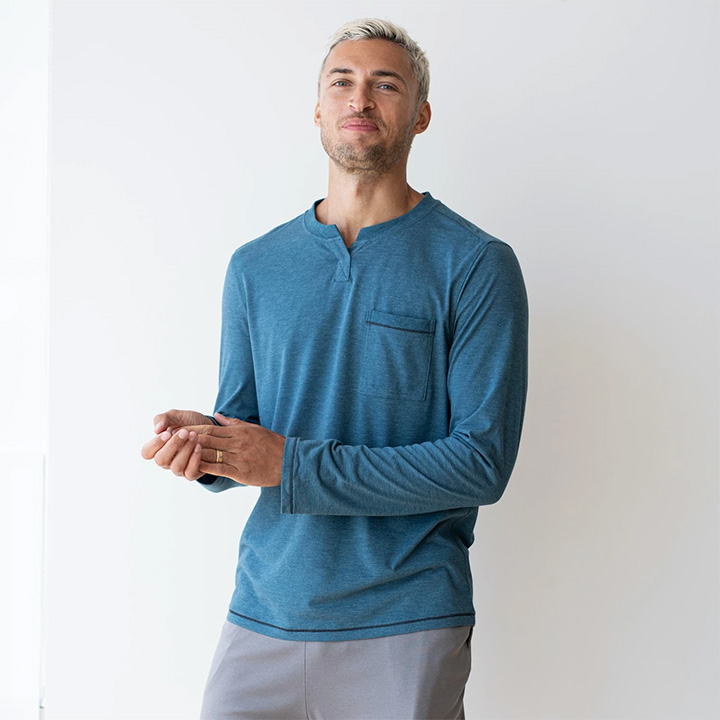 Lahgo Long Sleeve Status shirt in blue