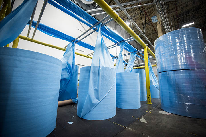 Hygiene textiles made possible by reclaimed scrap.