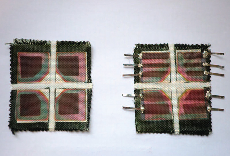 Figure 3. Solar cells directly deposited onto polyester fabric.