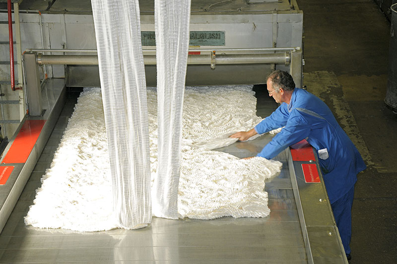Polyester staple fiber production at Trevira in Bobingen/Bavaria (Germany).