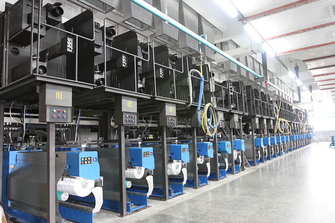 Line of filament yarn equipment