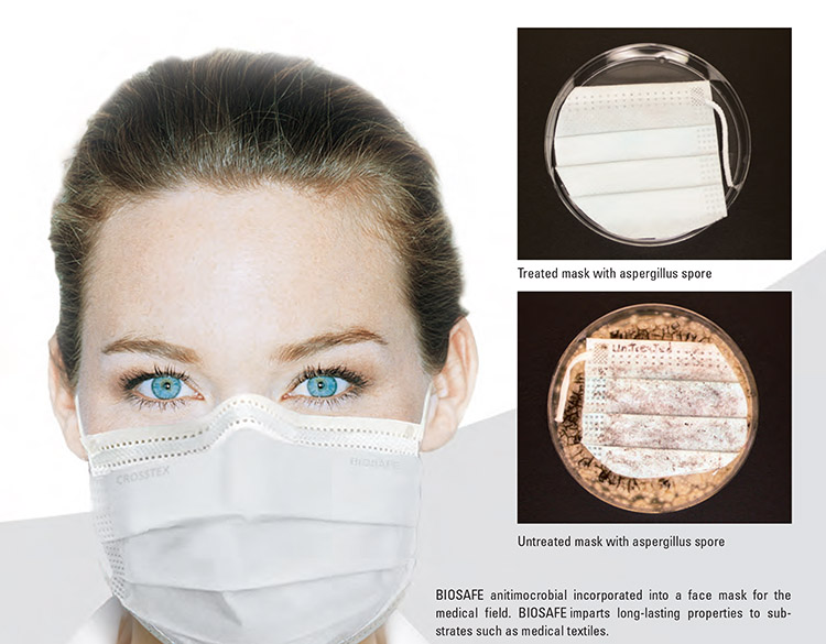 BIOSAFE antimicrobial incorporated into a face mask.